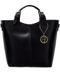 Glamorous by Glam Dámská kožená kabelka do ruky - černá