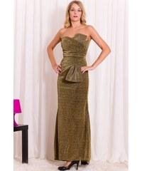 Glam Společenské dlouhé šaty bez ramínek - zlatá