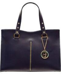 Glamorous by Glam Tmavě modrá kožená kabelka se zlatým proužkem