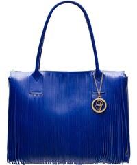 Glamorous by Glam Dámská kožená kabelka větší s třásněmi - královsky modrá