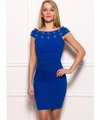 Rinascimento Dámské elegantní šaty s kroužky - modrá