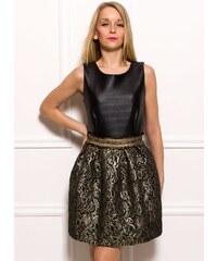 Glamorous by Glam Dámské šaty černé se zlatou krajkou