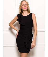 Rinascimento Dámské elegantní šaty s volány - černá