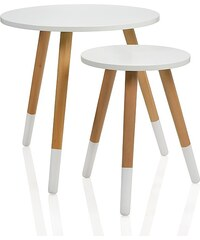 Andrea house - Set dvou kulatých stolků přírodní dřevo/bílá, průměr 48x46,5cm (MU64039)