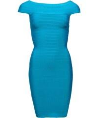Manosqe Dámské luxusní bandážové šaty jednoduché - tyrkysová