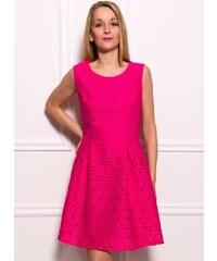 Due Linee Dámské elegantní šaty s motivem A střih - fuchsiová