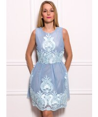 Due Linee Dámské elegantní šaty s vyšitým motivem - světle modrá