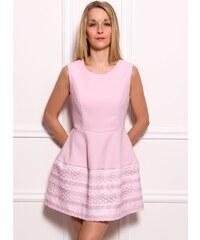Due Linee Dámské elegantní šaty A střih bílo - růžová