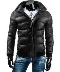 Lesklá černá zimní bunda pro pány