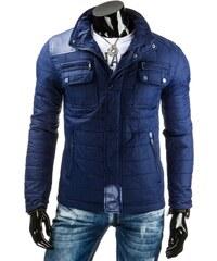 Úžasná prošívaná tmavě modrá bunda