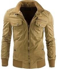 Zajímavá khaki bunda na zip pánská