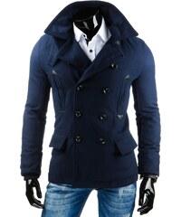 Trendy modrý pánský kabát s dvojitými knoflíky