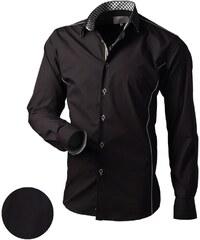 Černá košile slim-fit V062