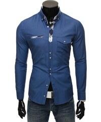 Moderní modrá košile pro pány Ozonee 43