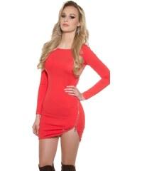 Koucla Dámské úpletové mini šaty - korálové