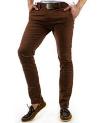 Módní hnědé pánské kalhoty