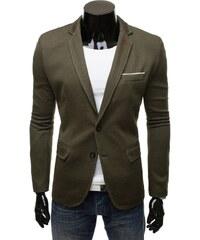 Pohodlné sportovní pánské sako khaki barvy 8400