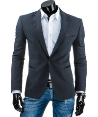Pánské elegantní sako grafitové s koženými doplňky