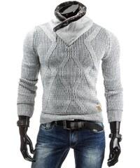 Šedý svetr s výrazným límcem