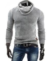 Hrubý svetr pro pány šedé barvy