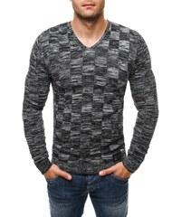 Originální černo-bílý svetr s jemným motivem 256020