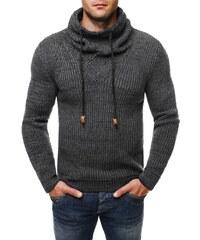 Tmavě šedý stylový pánský svetr 7102