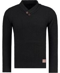 Módní černý pohodlný svetr (wx0727)