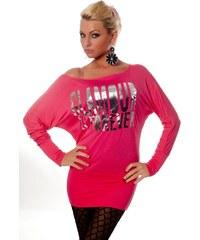 Redial Moderní dámská neonová růžová tunika s potiskem