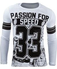 Stylové bílé pánské triko s dlouhým rukávem 33
