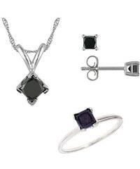 KLENOTA Souprava diamantového přívěsku, náušnic a prstenu