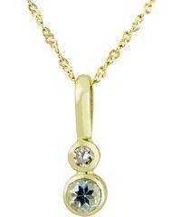 KLENOTA Zlatý dětský přívěsek s akvamarínem a diamantem