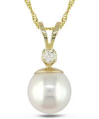 KLENOTA Zlatý náhrdelník s perlou a diamantem