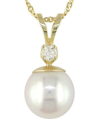 KLENOTA Zlatý přívěsek s perlou a diamantem