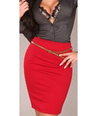 Koucla Červená sukně s páskem