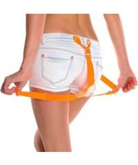 Trendy bílé džínové kraťásky s kšandami