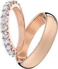 KLENOTA Snubní prstýnky z růžového zlata s diamanty
