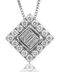 KLENOTA Čtvercový přívěsek z bílého zlata s diamanty