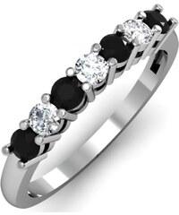 KLENOTA Prsten s bílými a černými diamanty
