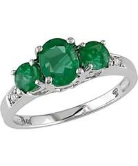 KLENOTA Smaragdový prsten z bílého zlata