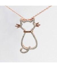 KLENOTA Přívěsek kočka z 14k růžového zlata s diamanty