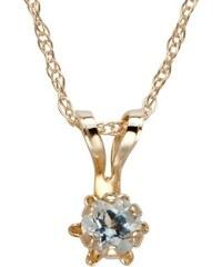 KLENOTA Zlatý náhrdelník pro děti s akvamarínem