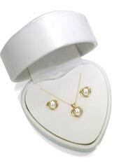 KLENOTA Srdcová souprava s bílými perlami ze zlata