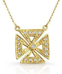 KLENOTA Zlatý přívěsek s mnoha diamanty