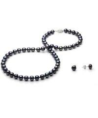 KLENOTA Souprava náhrdelníku a náušnic z černých perel
