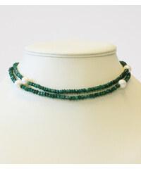 KLENOTA Náhrdelník ze smaragdů a perel