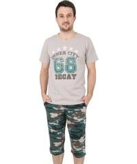 Gazzaz Bavlněné pánské pyžamo Army