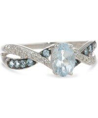 KLENOTA Stříbrný prsten s akvamarínem, topazy a diamanty