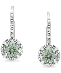 KLENOTA Stříbrné náušnice s ametysty a diamanty