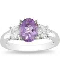 KLENOTA Ametystový prsten s bílými safíry