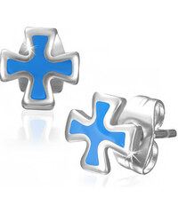 DAMSON Ocelové náušnice - kříž